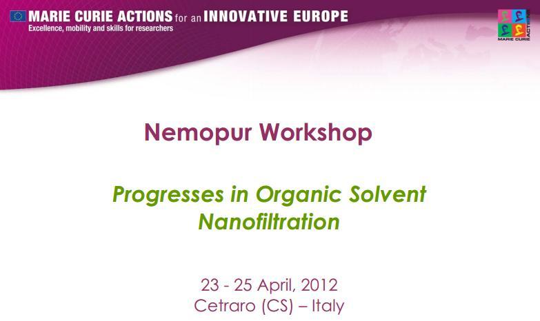 NEMOPUR - Progresses in Organic Solvent Nanofiltration