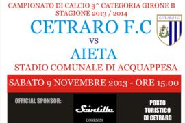Cetraro F.C. vs Aieta, sabato 9 novembre ore 15.00