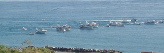 Processione a mare della statua di S. Benedetto.