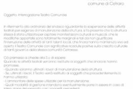 Teatro comunale: interrogazione dei gruppi consiliari PD-Alleanza Popolare per Cetraro e Uniti per Cetraro