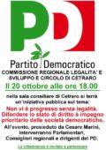 PD e legalità: domani l'incontro pubblico sulle recenti vicende delittuose a Cetraro