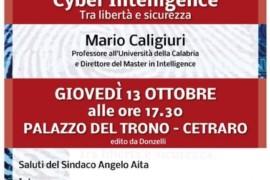 """Cetraro. """"Cyber Intelligence"""": la presentazione giovedì 13 a Palazzo del Trono"""