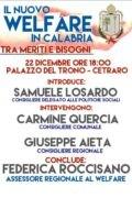 """""""Il Nuovo Welfare in Calabria"""": Cetraro, 22 dicembre, Palazzo del Trono"""