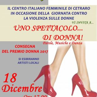 Uno spettacolo… di Donna 2017: 18 dicembre 2017