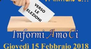 """""""Verso le elezioni"""": giovedì 15 febbraio 2018 Palazzo del Trono"""