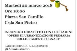 Incontro-dibattito sulle opere di urbanizzazione primaria collegamenti fognari